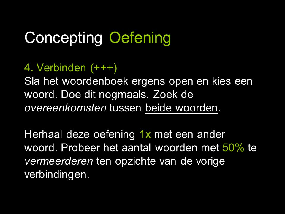 Concepting Oefening 4. Verbinden (+++)