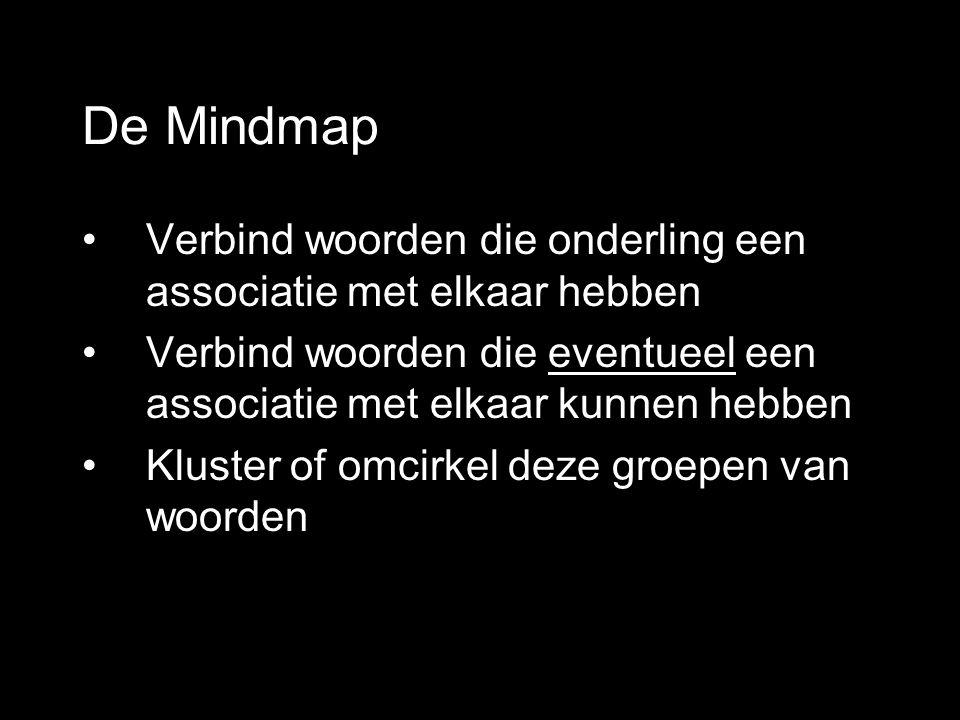 De Mindmap Verbind woorden die onderling een associatie met elkaar hebben. Verbind woorden die eventueel een associatie met elkaar kunnen hebben.