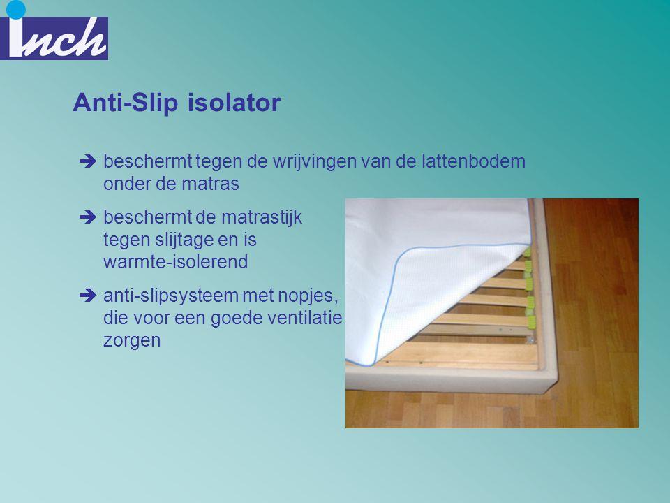 Anti-Slip isolator beschermt tegen de wrijvingen van de lattenbodem onder de matras. beschermt de matrastijk tegen slijtage en is warmte-isolerend.