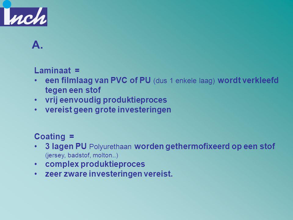 A. Laminaat = een filmlaag van PVC of PU (dus 1 enkele laag) wordt verkleefd tegen een stof. vrij eenvoudig produktieproces.