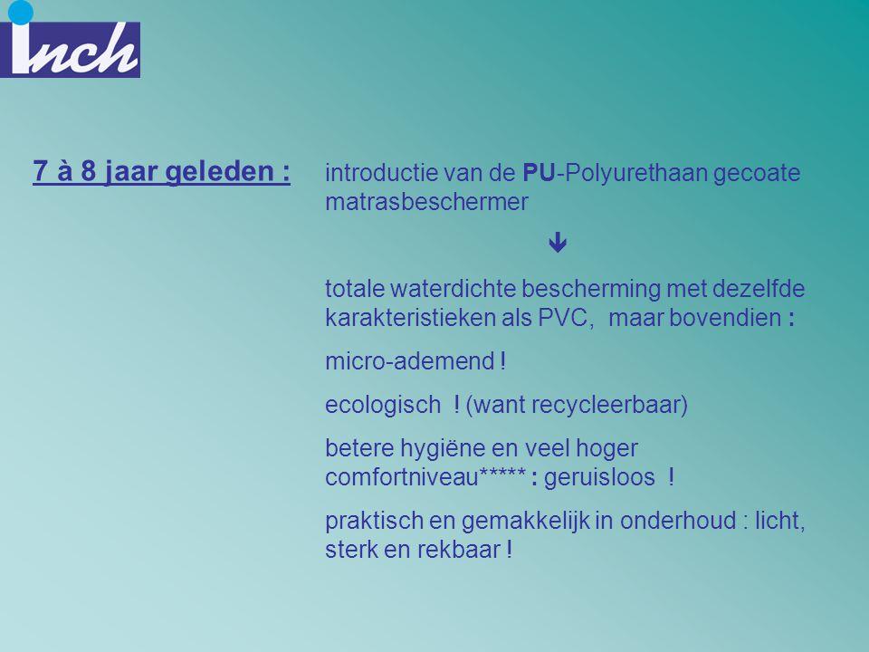 7 à 8 jaar geleden : introductie van de PU-Polyurethaan gecoate matrasbeschermer. 