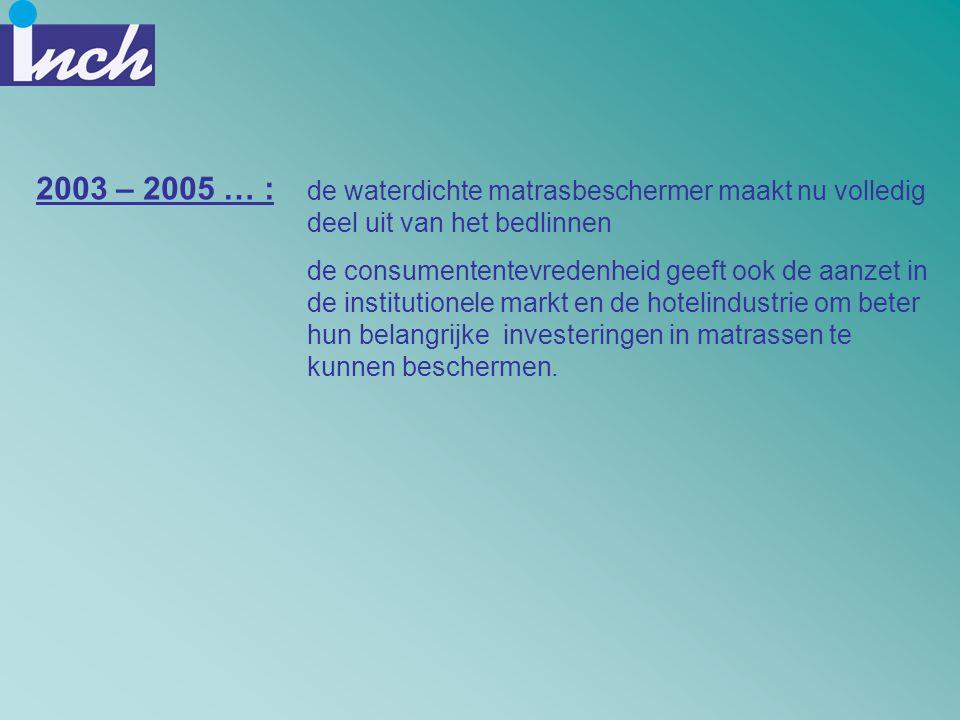 2003 – 2005 … : de waterdichte matrasbeschermer maakt nu volledig deel uit van het bedlinnen.