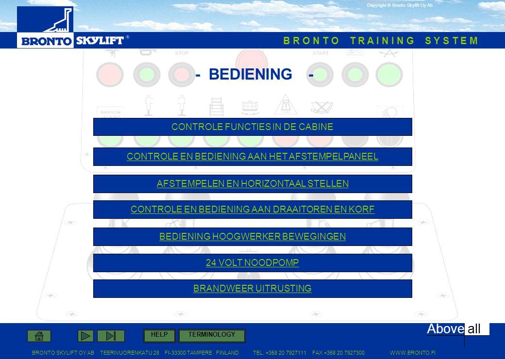- BEDIENING - CONTROLE FUNCTIES IN DE CABINE