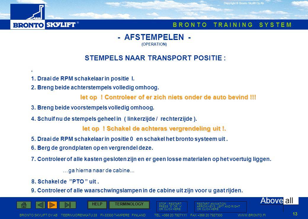STEMPELS NAAR TRANSPORT POSITIE :