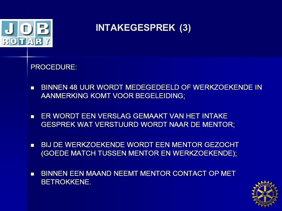 INTAKEGESPREK (3) PROCEDURE: