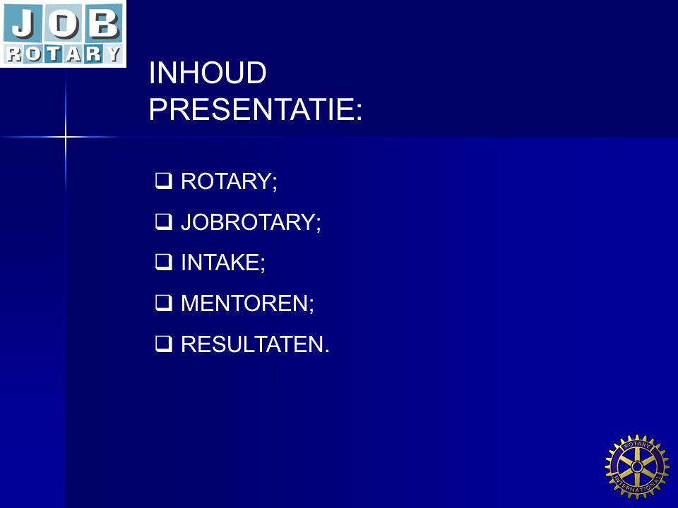 INHOUD PRESENTATIE: ROTARY; JOBROTARY; INTAKE; MENTOREN; RESULTATEN.
