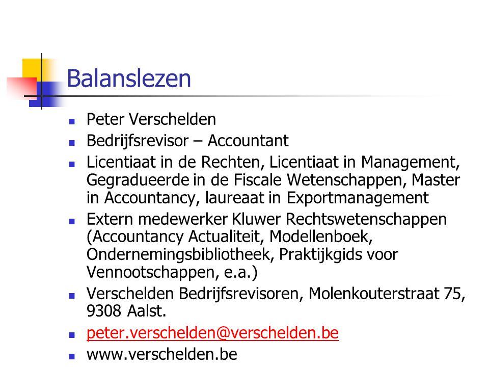 Balanslezen Peter Verschelden Bedrijfsrevisor – Accountant