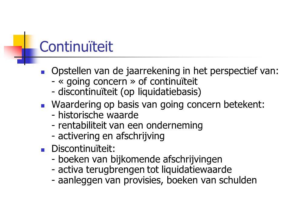 Continuïteit Opstellen van de jaarrekening in het perspectief van: - « going concern » of continuïteit - discontinuïteit (op liquidatiebasis)