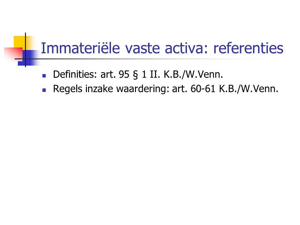Immateriële vaste activa: referenties
