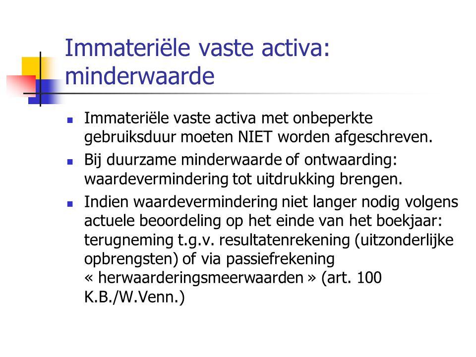 Immateriële vaste activa: minderwaarde
