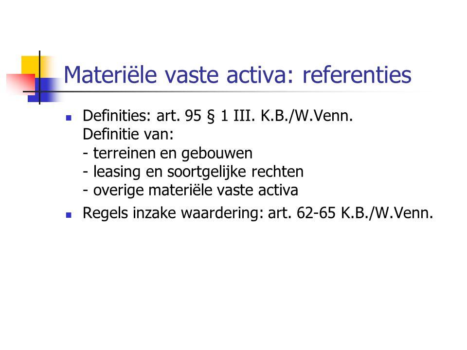 Materiële vaste activa: referenties