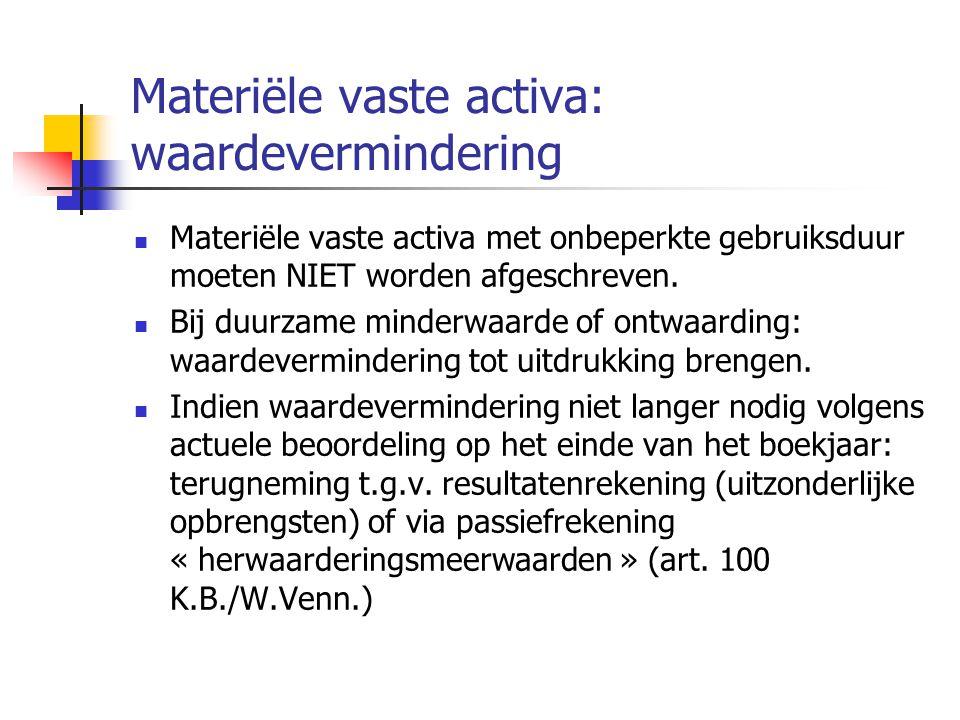 Materiële vaste activa: waardevermindering