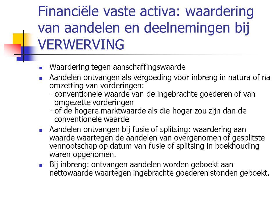 Financiële vaste activa: waardering van aandelen en deelnemingen bij VERWERVING