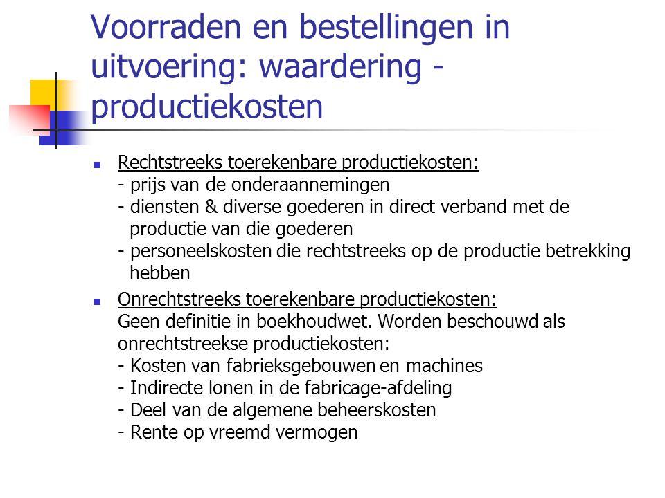 Voorraden en bestellingen in uitvoering: waardering - productiekosten