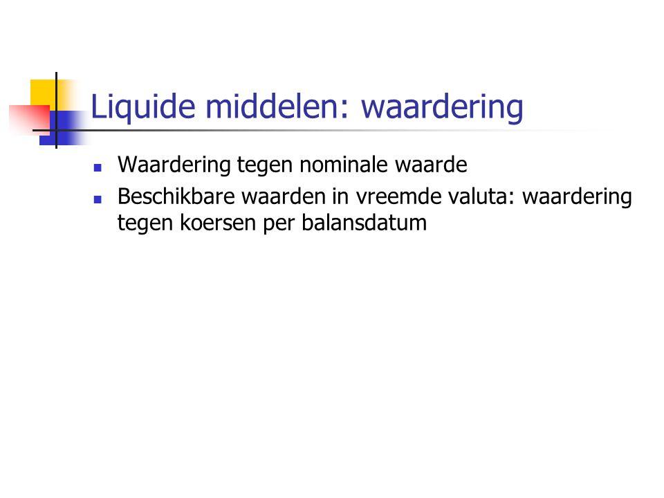 Liquide middelen: waardering