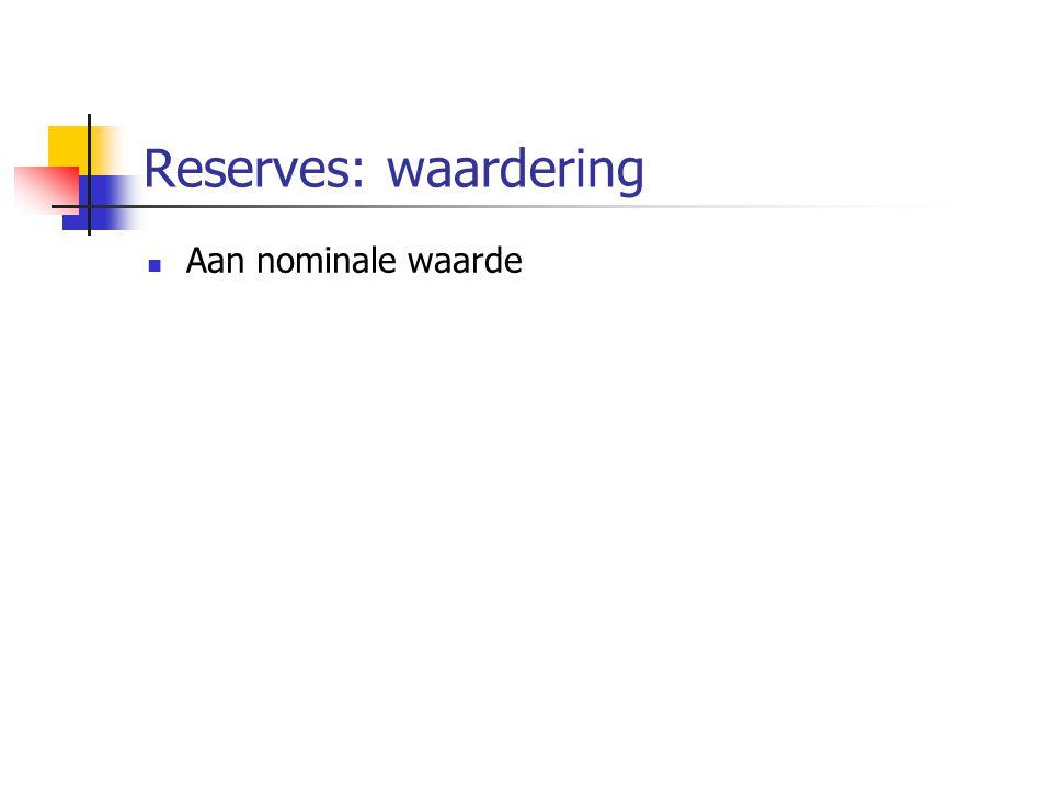Reserves: waardering Aan nominale waarde