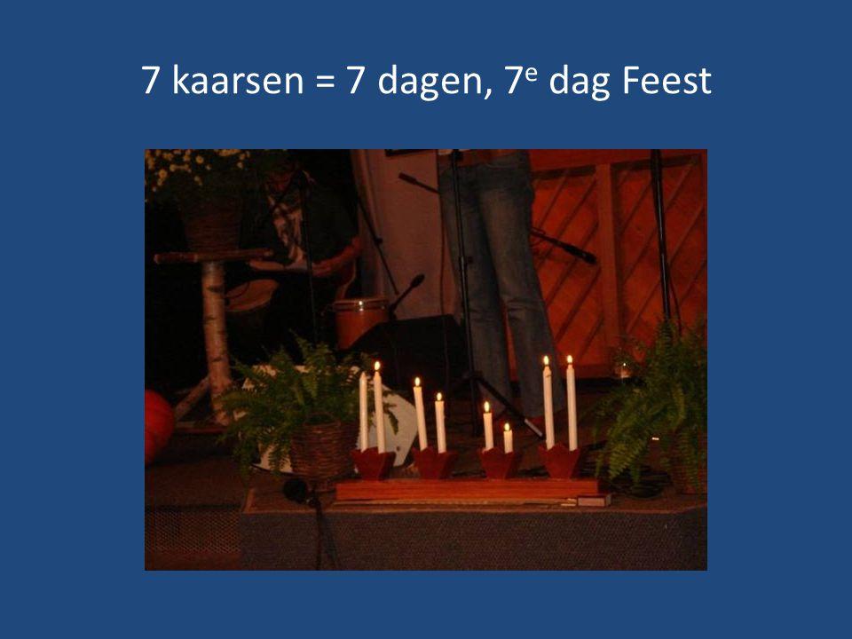 7 kaarsen = 7 dagen, 7e dag Feest