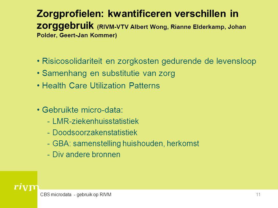Zorgprofielen: kwantificeren verschillen in zorggebruik (RIVM-VTV Albert Wong, Rianne Elderkamp, Johan Polder, Geert-Jan Kommer)