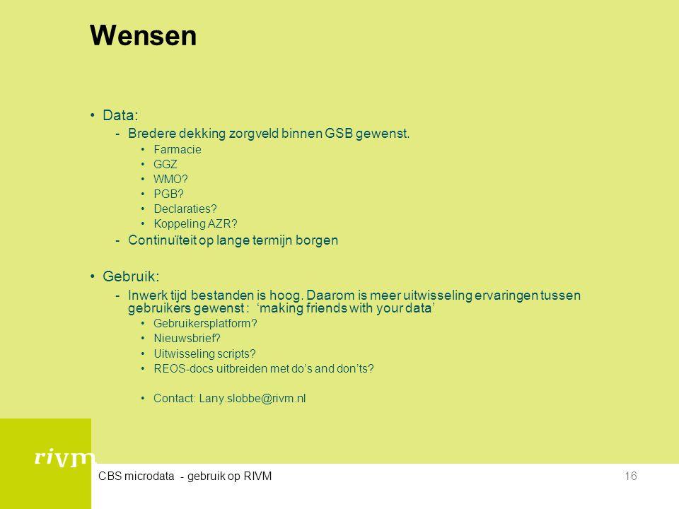 Wensen Data: Gebruik: Bredere dekking zorgveld binnen GSB gewenst.