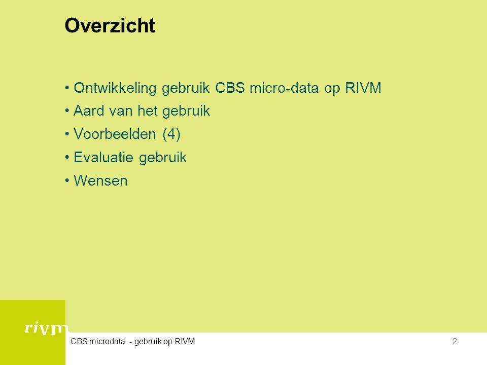 Overzicht Ontwikkeling gebruik CBS micro-data op RIVM