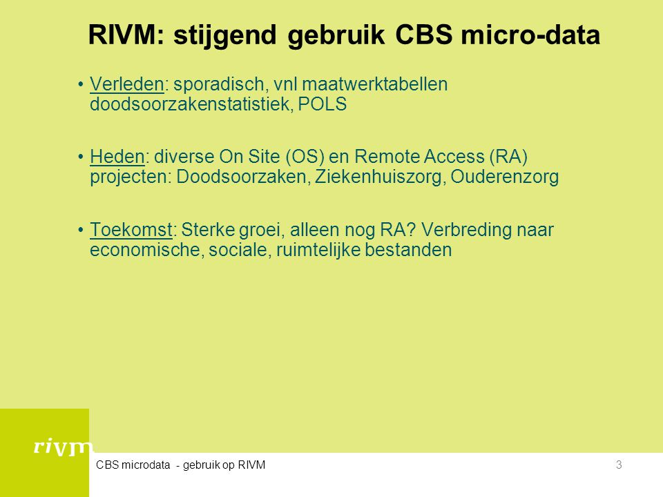 RIVM: stijgend gebruik CBS micro-data