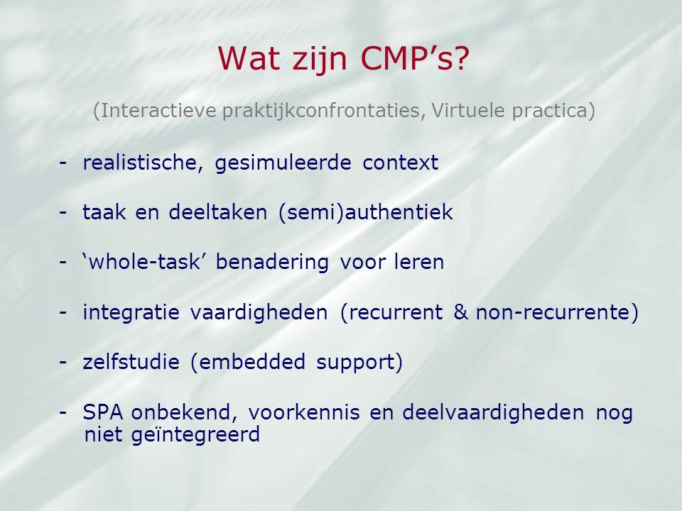 Wat zijn CMP's - realistische, gesimuleerde context