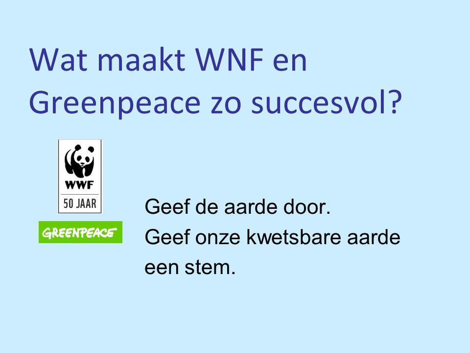 Wat maakt WNF en Greenpeace zo succesvol