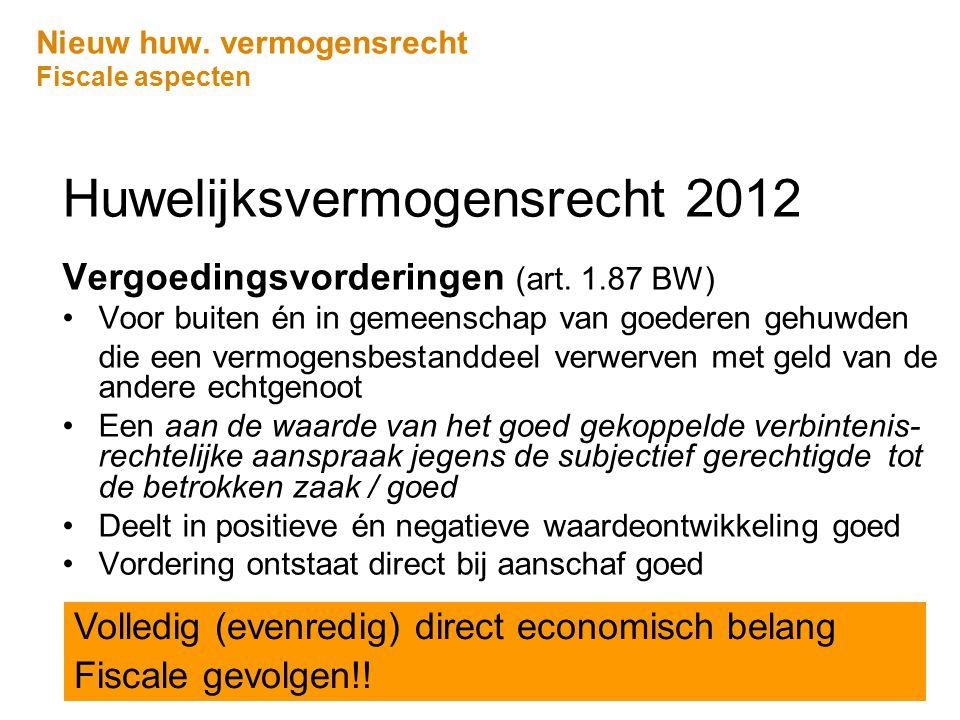 Nieuw huw. vermogensrecht Fiscale aspecten