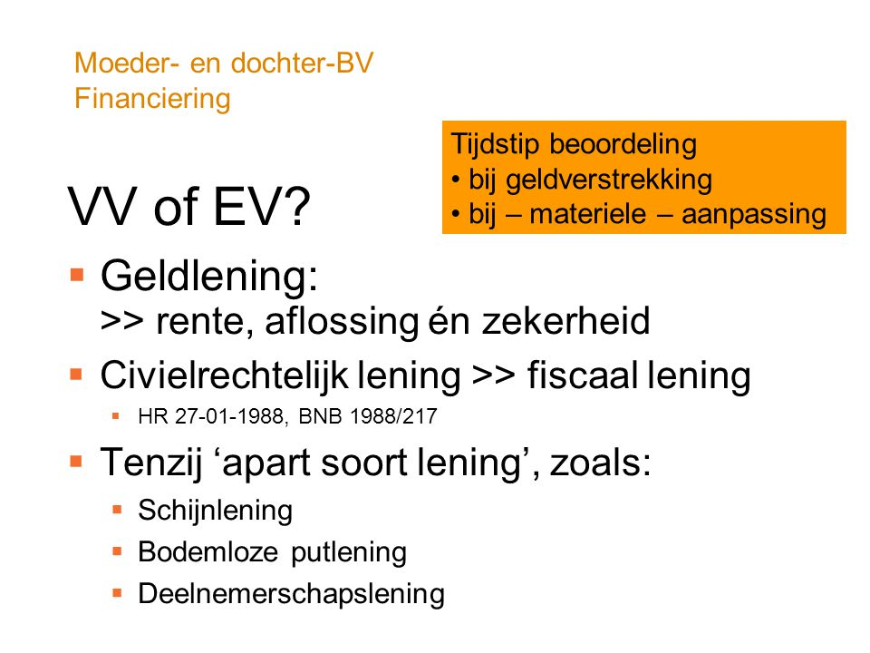 Moeder- en dochter-BV Financiering