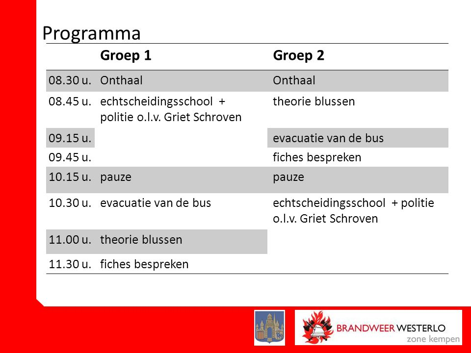 Programma Groep 1 Groep 2 08.30 u. Onthaal 08.45 u.
