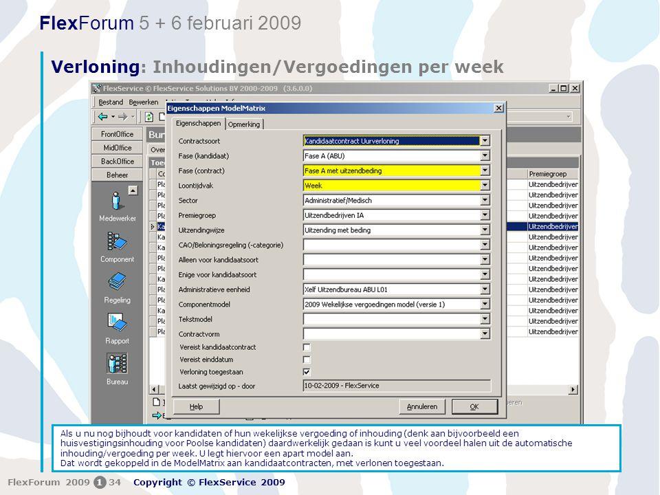 Verloning: Inhoudingen/Vergoedingen per week
