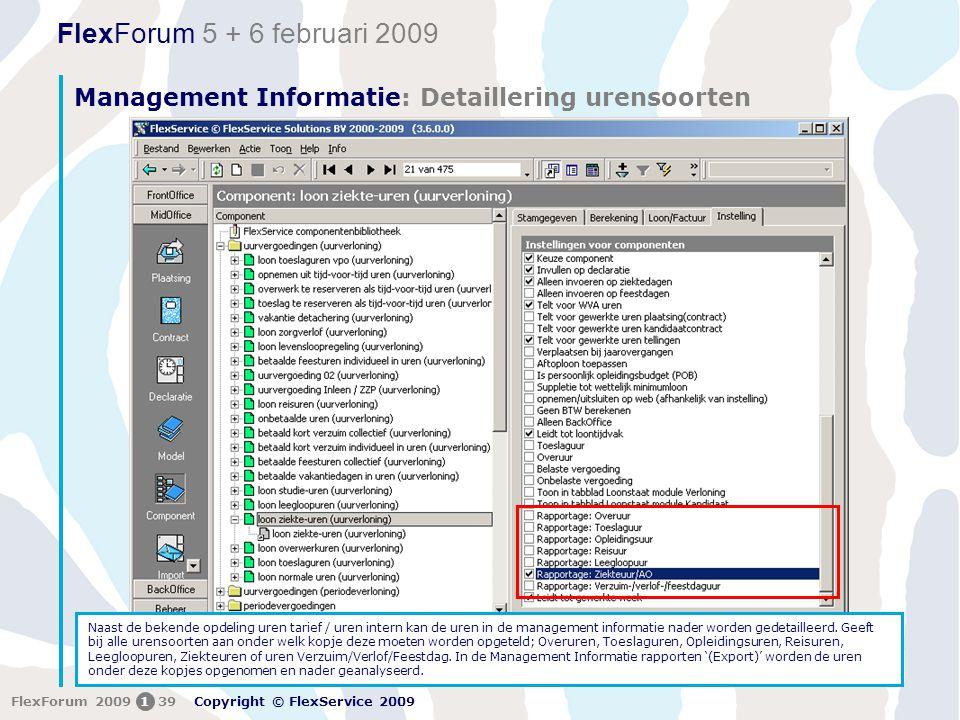 Management Informatie: Detaillering urensoorten