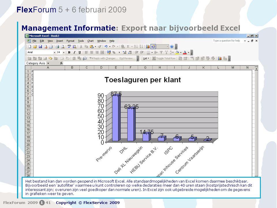 Management Informatie: Export naar bijvoorbeeld Excel
