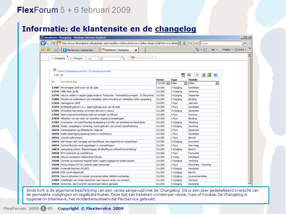 Informatie: de klantensite en de changelog