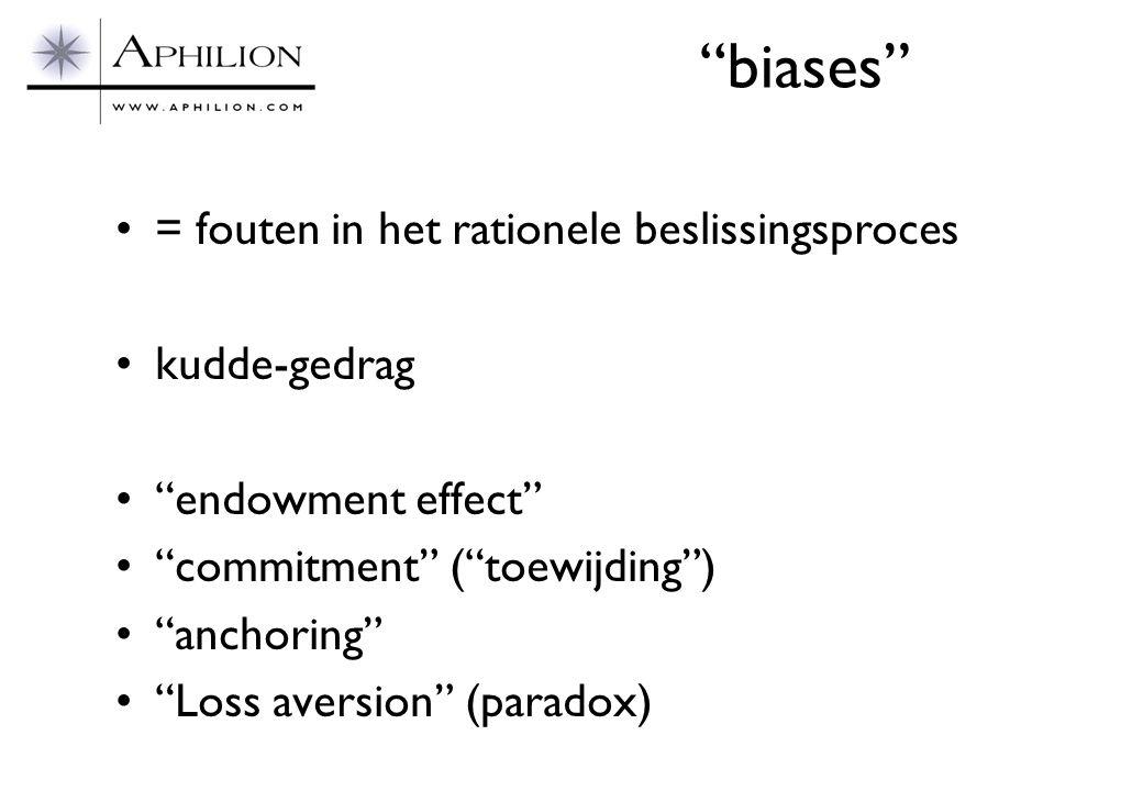 biases = fouten in het rationele beslissingsproces kudde-gedrag