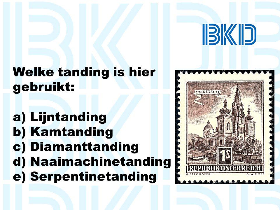 Welke tanding is hier gebruikt: a) Lijntanding. b) Kamtanding. c) Diamanttanding. d) Naaimachinetanding.