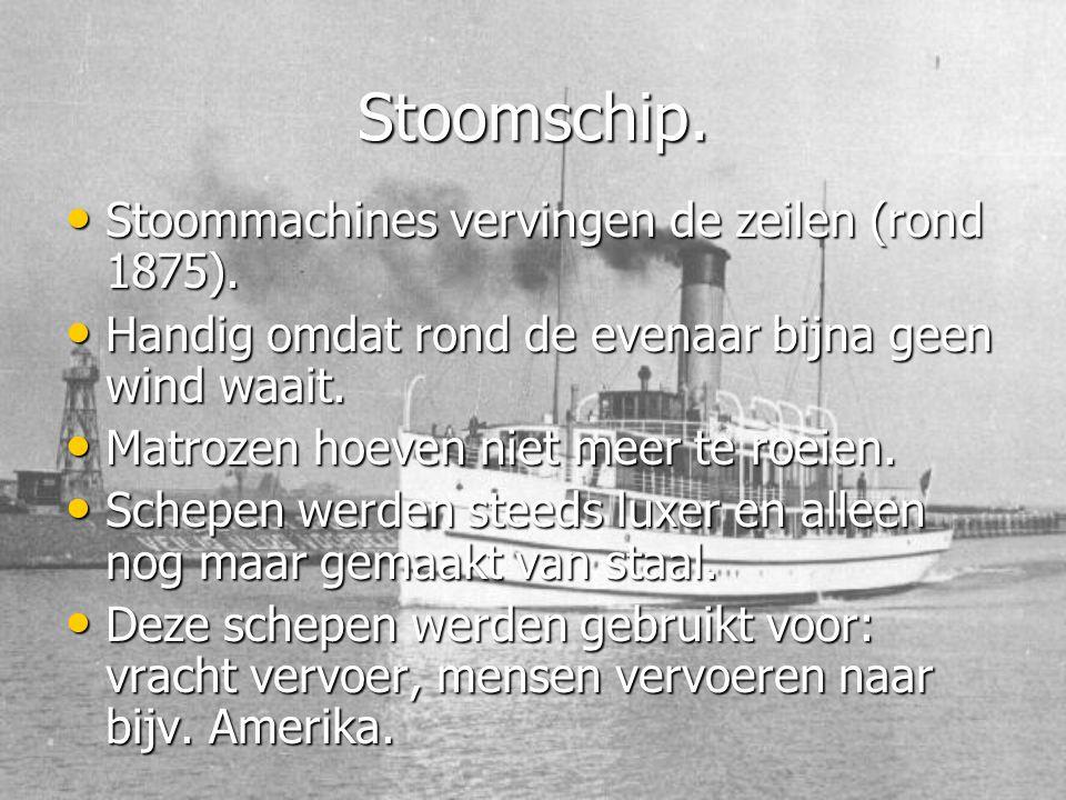 Stoomschip. Stoommachines vervingen de zeilen (rond 1875).