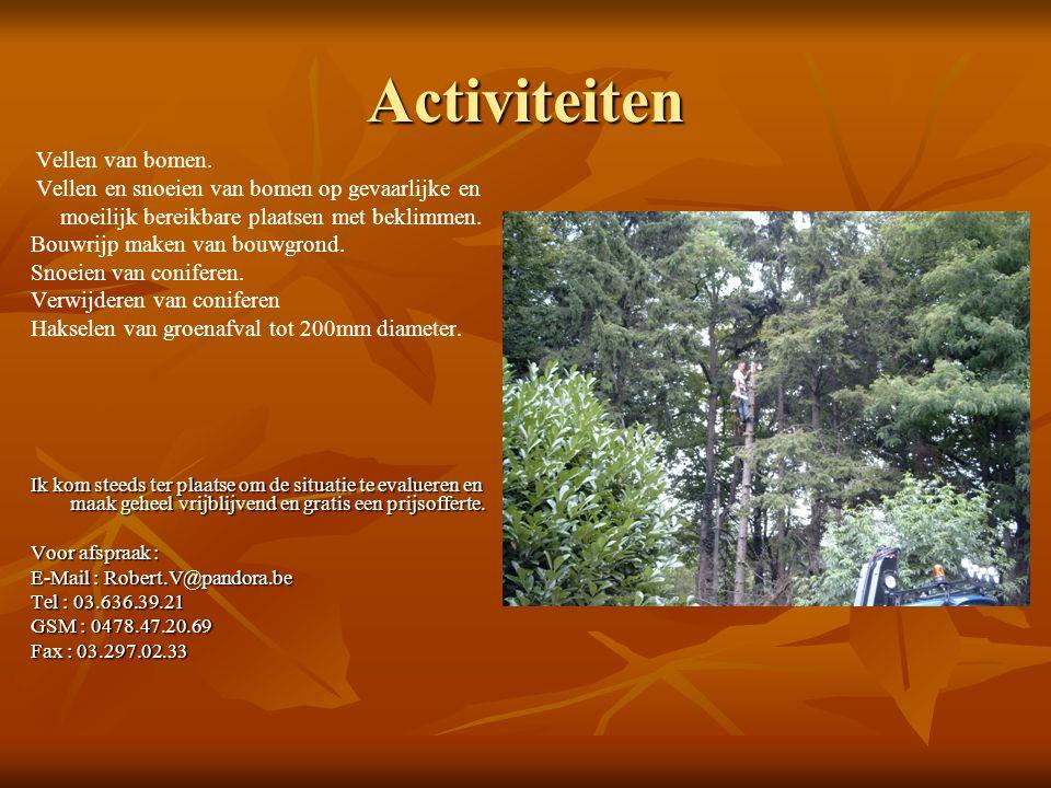 Activiteiten Vellen en snoeien van bomen op gevaarlijke en