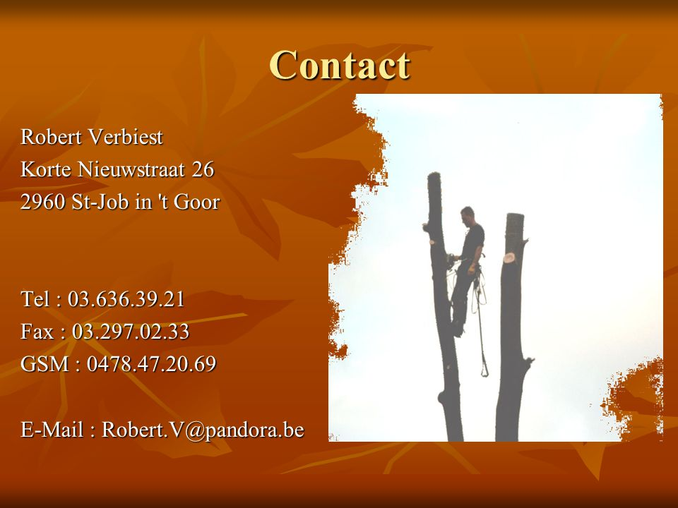 Contact Robert Verbiest Korte Nieuwstraat 26 2960 St-Job in t Goor