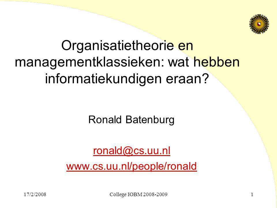 Organisatietheorie en managementklassieken: wat hebben informatiekundigen eraan