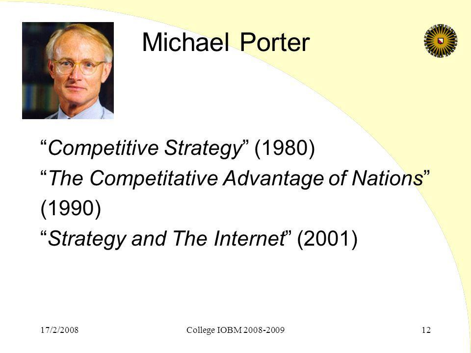 Michael Porter Competitive Strategy (1980)