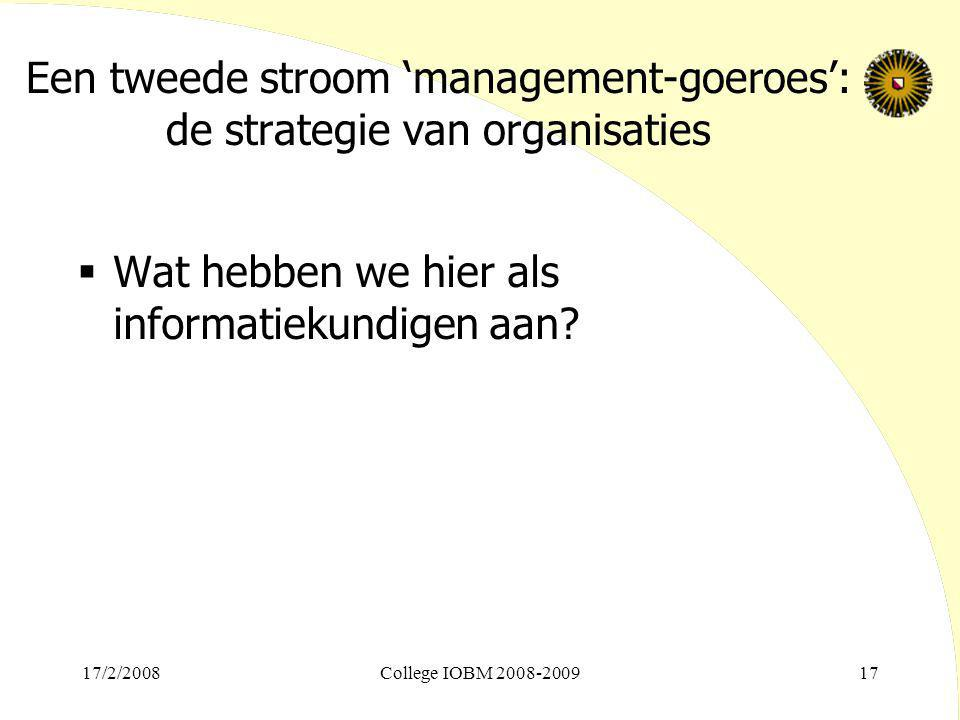 Een tweede stroom 'management-goeroes': de strategie van organisaties
