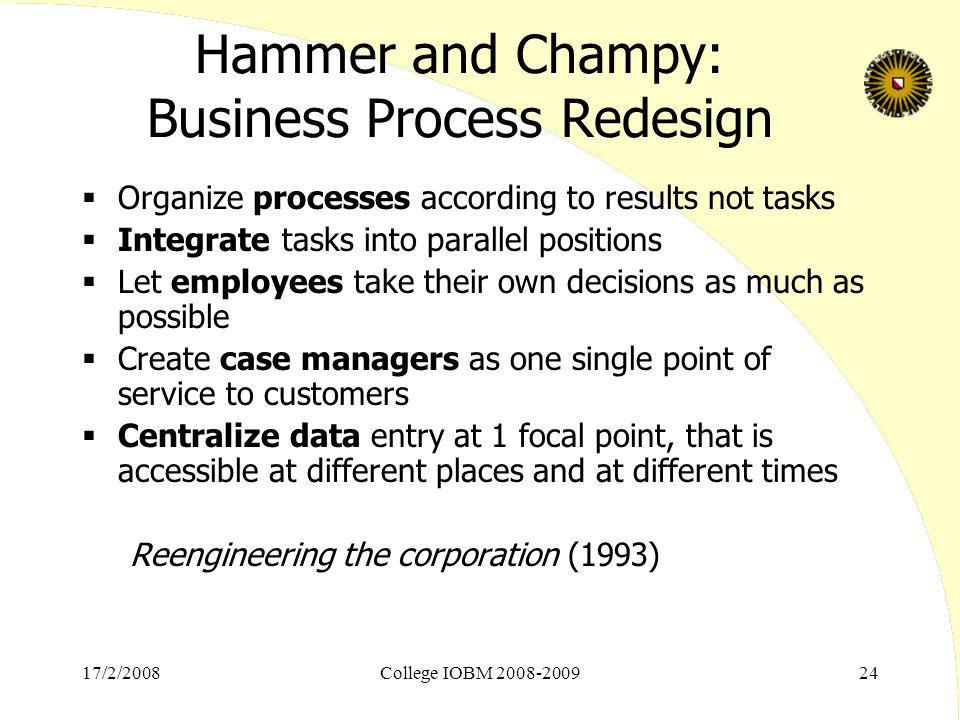 Hammer and Champy: Business Process Redesign