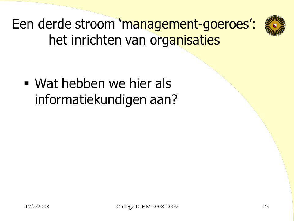 Een derde stroom 'management-goeroes': het inrichten van organisaties