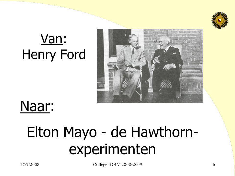 Elton Mayo - de Hawthorn-experimenten