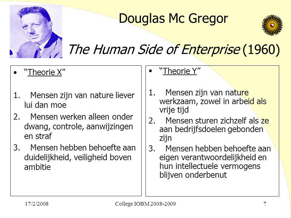 Douglas Mc Gregor The Human Side of Enterprise (1960)