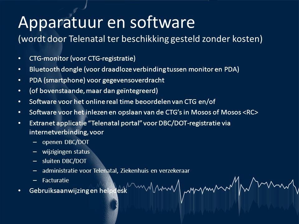 Apparatuur en software (wordt door Telenatal ter beschikking gesteld zonder kosten)