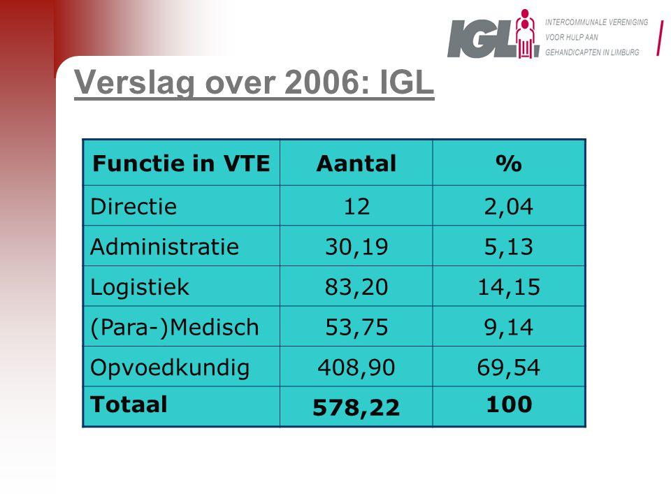 Verslag over 2006: IGL Functie in VTE Aantal % Directie 12 2,04