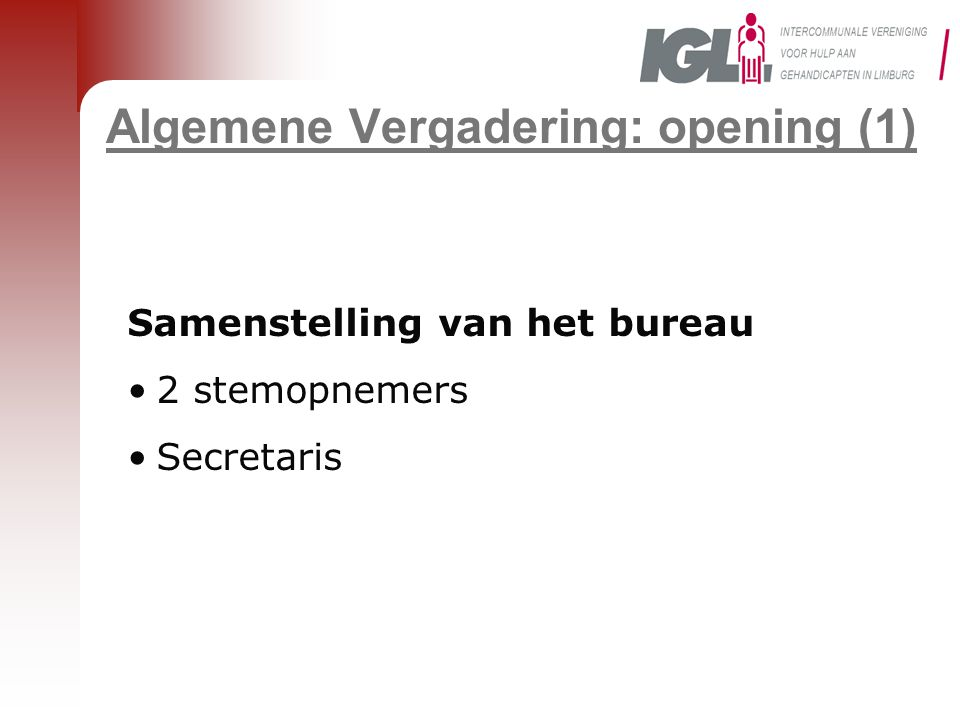 Algemene Vergadering: opening (1)