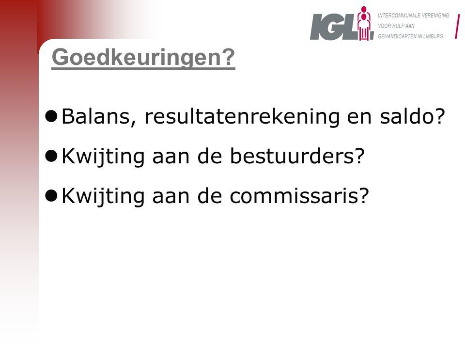Goedkeuringen Balans, resultatenrekening en saldo